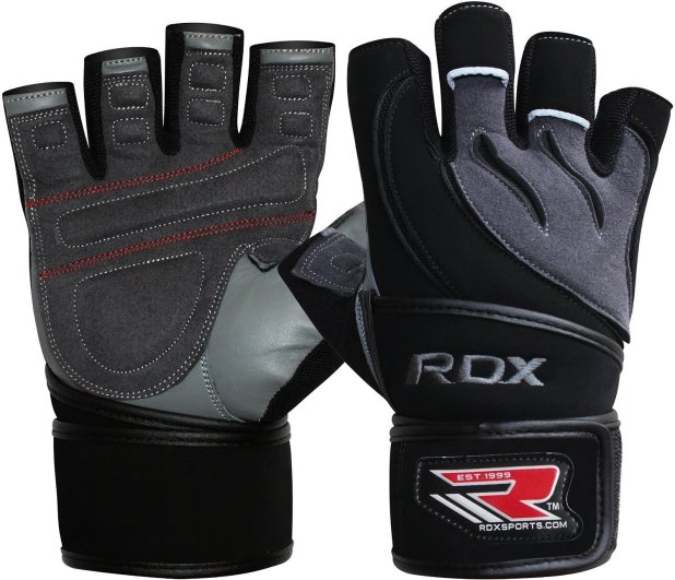 RDX Leather Men's Gym Weight Lifting Gloves Cross Training